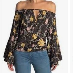 Free people Last time floral draped sleeve top